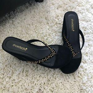 Shoes - EEUC Black Flip Flop Wedges